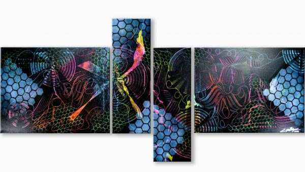 Abstract Black and Neon Art - Space - Acrylic Landscape