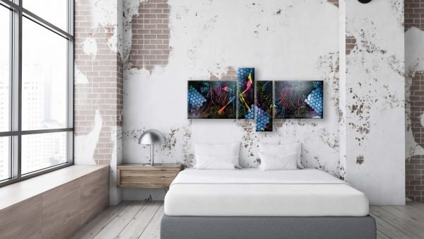Abstract Black and Neon Art - Space - Bedroom