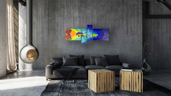 Abstract Bear Art - California - Grey Couch