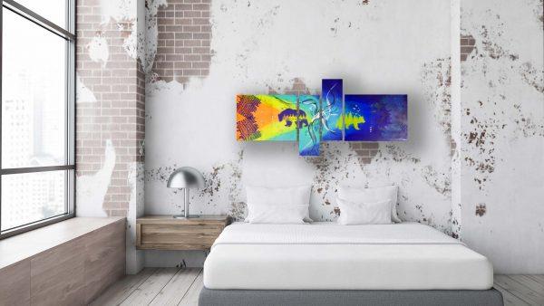 Abstract Bear Art - California - Grunge Bedroom