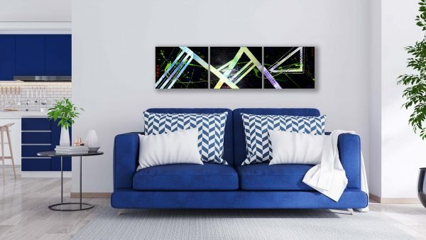 Abstract Black & Neon Art - Crescendo - Blue Couch