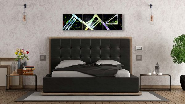Abstract Black & Neon Art - Crescendo - Dark Bed