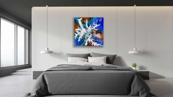 Abstract Blue & Brown Acrlyic Art - Arousing - 30x30x1.375 - Bedroom