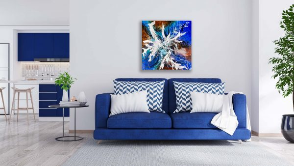 Abstract Blue & Brown Acrlyic Art - Arousing - 30x30x1.375 - Blue Couch