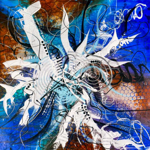 Abstract Blue & Brown Acrlyic Art - Arousing - 30x30x1.375 - Main