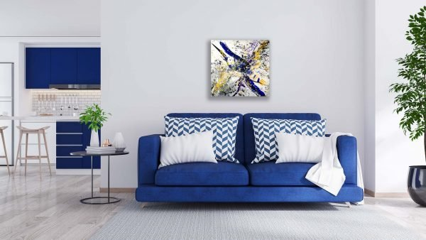 Abstract Purple & Gold Art - Lucent - 30x30x1.75 - Blue Couch