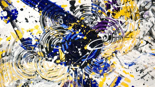 Abstract Purple & Gold Art - Lucent - 30x30x1.75 - Detail
