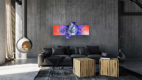 Abstract Purple & Orange Art - Astral - 60x30x0.75 - Grey Couch