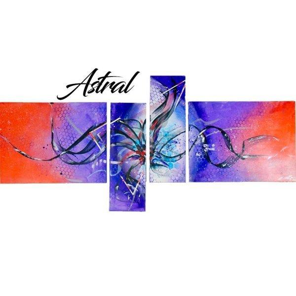 Abstract Purple & Orange Art - Astral - 60x30x0.75 - Main