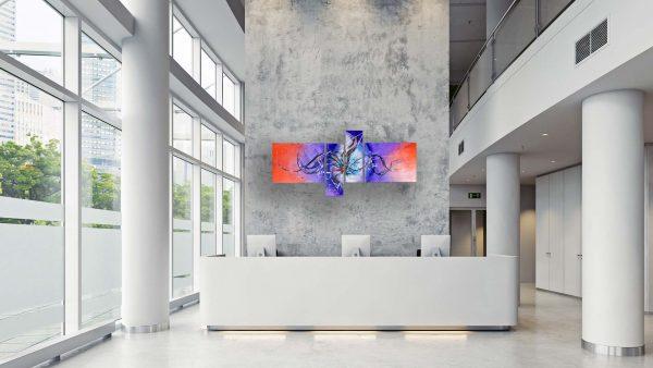Abstract Purple & Orange Art - Astral - 60x30x0.75 - Office