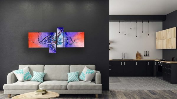 Abstract Purple & Orange Art - Astral - 60x30x0.75 - White Couch