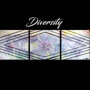 Abstract White, Purple & Green Acrlyic Art - Diversity - 60x20x0.75 -- Main