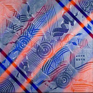 Orange, Blue & Purple Abstract Acrlyic Art - Energetic - 30x30 -- Main