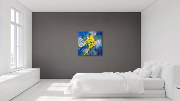 Stacked Abstract Art Grey Bedroom