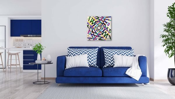 Timewarp Abstract Art Blue Couch